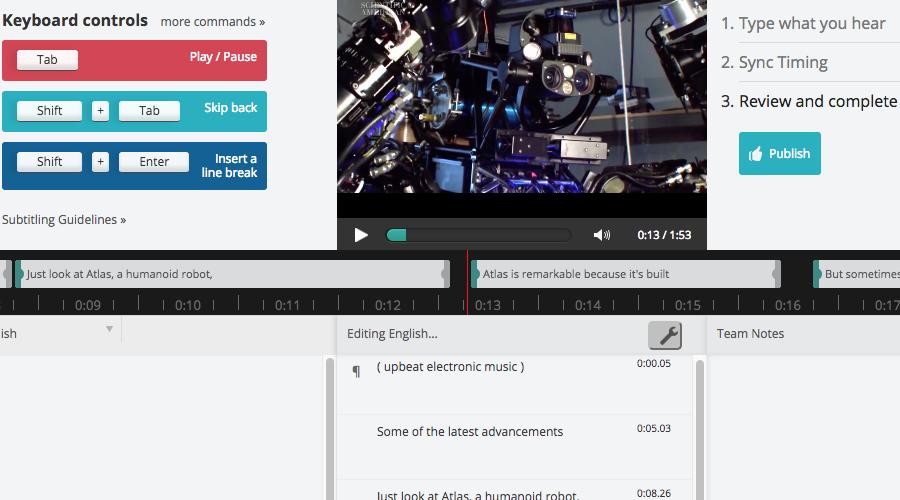 Amara Editor interface screenshot