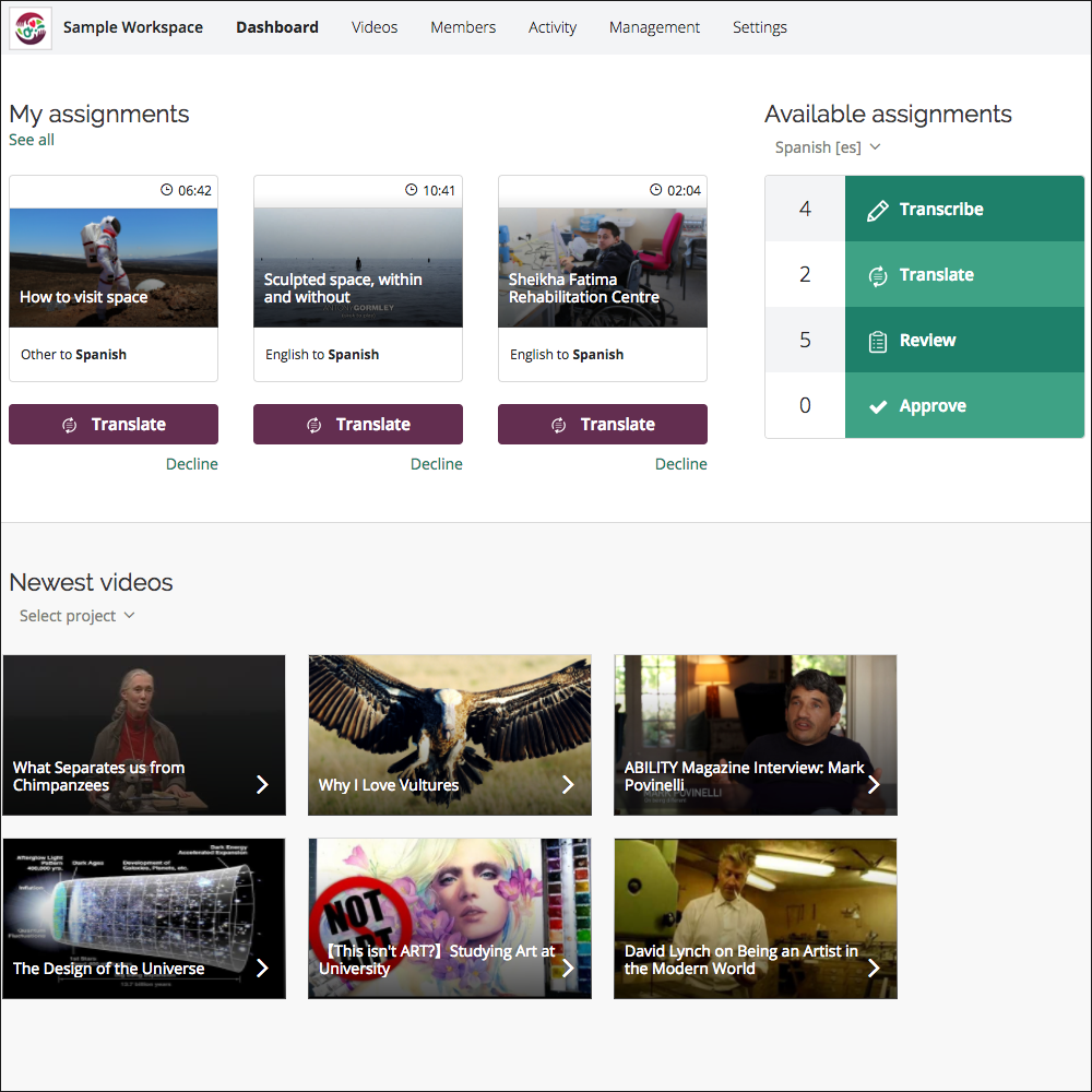 Screenshot of sample Amara Team Workspace, showing available assignments and new videos