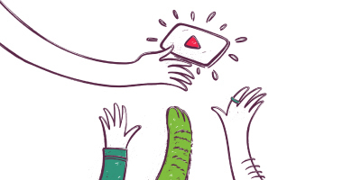 An illustrated hand holding a video icon with two hands and a cat paw reaching up to help, from below