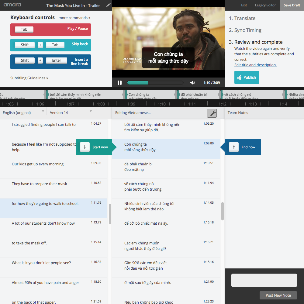 Large Amara Editor screenshot showing a video with Vietnamese captions being created.